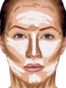 This is generally how people contour... where the place the highlight/contour.